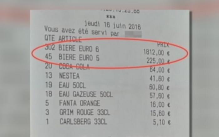 WOW! Nota de plata pentru o gasca de suporteri englezi intr-un bar din Lille! Cate beri au putut sa bea si cati bani au lasat la final