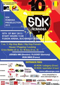 ProFM te cheama la SDK World Battle Tour, cel mai mare eveniment de street dance al anului! Inscrie-te si vino pe 18 mai la Fusion Arena Bucuresti! VIDEO
