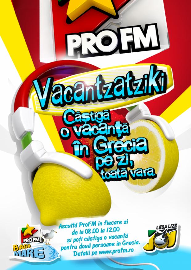 Vacantzatziki ProFM revine! Deschizi radioul si auzi deja marea! Castigi zi de zi vacante in Grecia, ascultand ProFM! De luni pana duminica, toata vara!