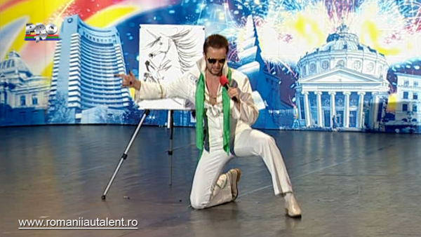 Gabriel Balazs un Elvis care canta si deseneaza
