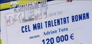 """Cati bani ii ia statul lui Adrian Tutu, castigatorul premiului de 120.000 euro de la """"Romanii au talent""""!"""