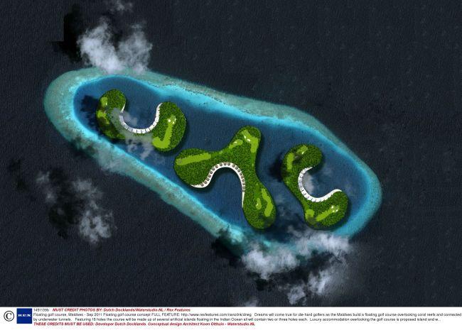 ASA o sa arate terenul de golf plutitor pe trei insule din Maldive in valoare de 500.000.000 de dolari! GALERIE FOTO