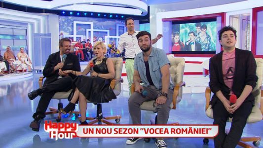 "Horia Brenciu a dat <span style=""color:#f00;"">detalii picante despre concurentii de la Vocea Romaniei</span> la Happy Hour! Vezi ce au avut de declarat antrenorii inainte de competitie"