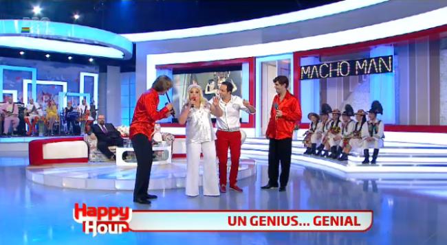 "<span class=""userContent"">Laura Lavric, Gelu Voicu si Constantin Magureanu sunt noua trupa Genius! Cum au facut show pe melodia ""Macho Man"" </span>"