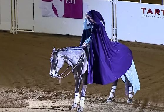 Wow, un adevarat spectacol. Intra in arena calare pe un cal, dar cand renunta la pelerina, publicul ramane uimit