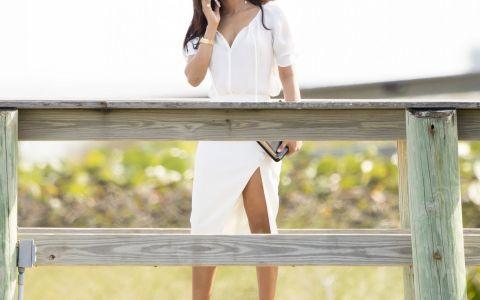 Primele imagini cu Priyanka Chopra la filmarile pentru Baywatch. Cat de bine arata indianca intr-o rochie alba