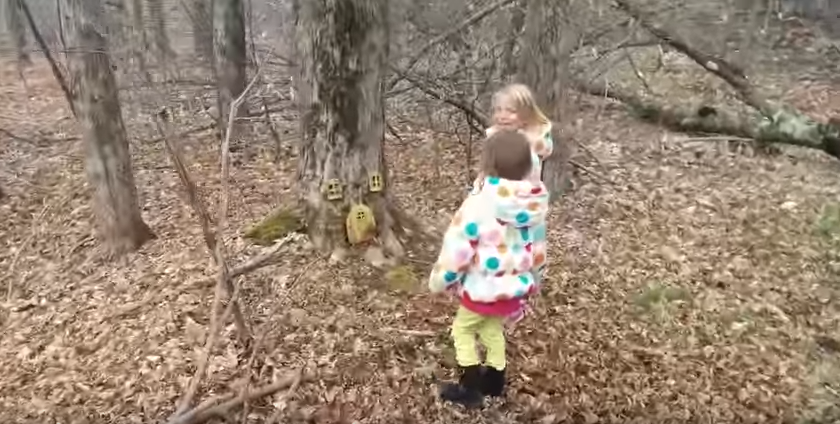 Si-a scos la plimbare copiii in padure si i-a lasat sa exploreze. Ce au gasit micutii pare desprins din basme