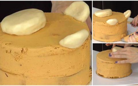 Decoreaza un tort cu  tepi  din crema de unt. La inceput nu pare cea mai inspirata alegere, dar rezultatul final e uimitor