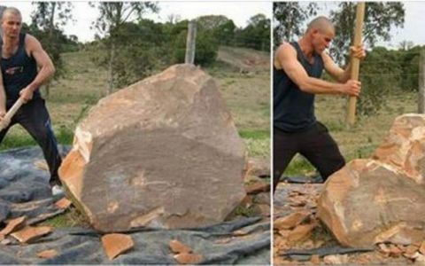 A inceput sa loveasca o roca imensa cu un topor. Ce s-a intamplat 4 ore mai tarziu e umitor