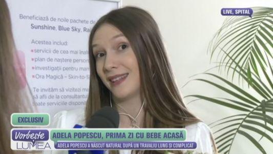 Adela Popescu, prima zi cu bebe acasa