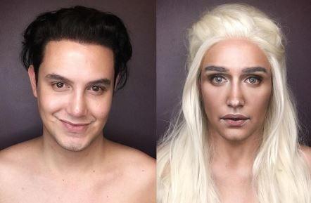 Se poate transforma oricand in cele mai iubite personaje din Game Of Thrones. Cum arata barbatul dupa o sesiune de machiaj
