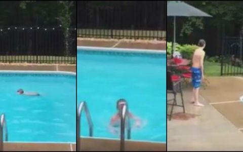 Fiul ei facea baie in piscina in momentul in care un animal salbatic a sarit in apa. Imaginile au luat cu asalt internetul