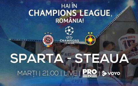 Cel mai frumos fotbal revine la Pro TV! Meciul dintre Sparta Praga si Steaua Bucuresti este transmis LIVE de Pro TV!