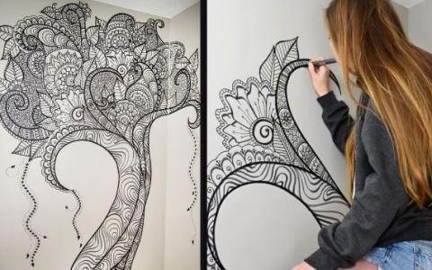 A trasat cu un marker cateva linii pe peretele unei camere. Rezultatul final arata genial
