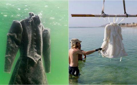 A lasat timp de 2 ani o rochie scufundata in adancurile Marii Moarte. Cum arata obiectul vestimentar cand a fost scos la suprafata