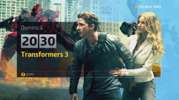 Transformers 3, duminica, 30 octombrie, de la 20:30