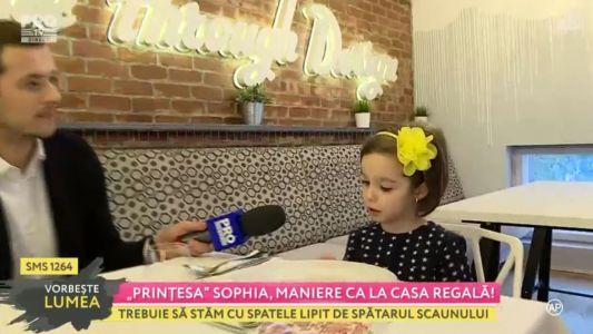 """Printesa"" Sophia, primele lectii de bune maniere"