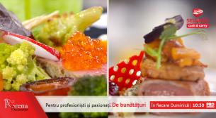 Muschiulet de caprior cu foie-gras si peltea de gutui si file de ton cu legume de sezon si ou posat
