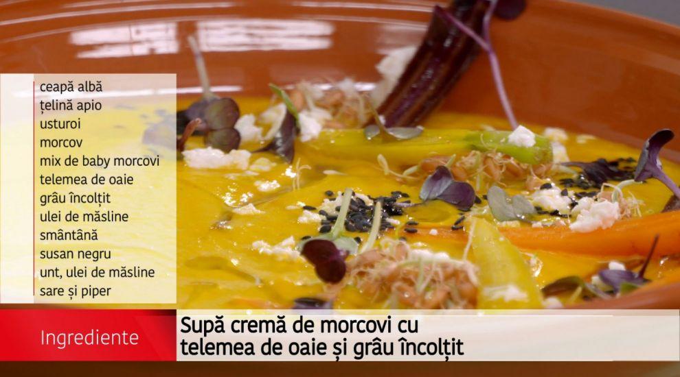 Supa crema de morcovi cu telemea de oaie si grau incoltit