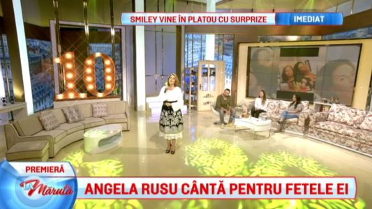 Angela Rusu, dupa 12 ani, cu fetele in platou