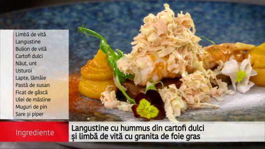Starter: Langustine cu hummus, cartofi dulci si limba de vita cu granita de foie gras