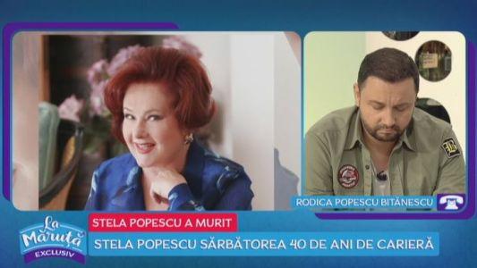 Rodica Popescu Bitanescu, despre moartea Stelei Popescu