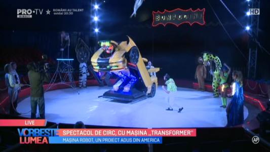 """Spectacol de circ, cu masina """"Transformer"""""""