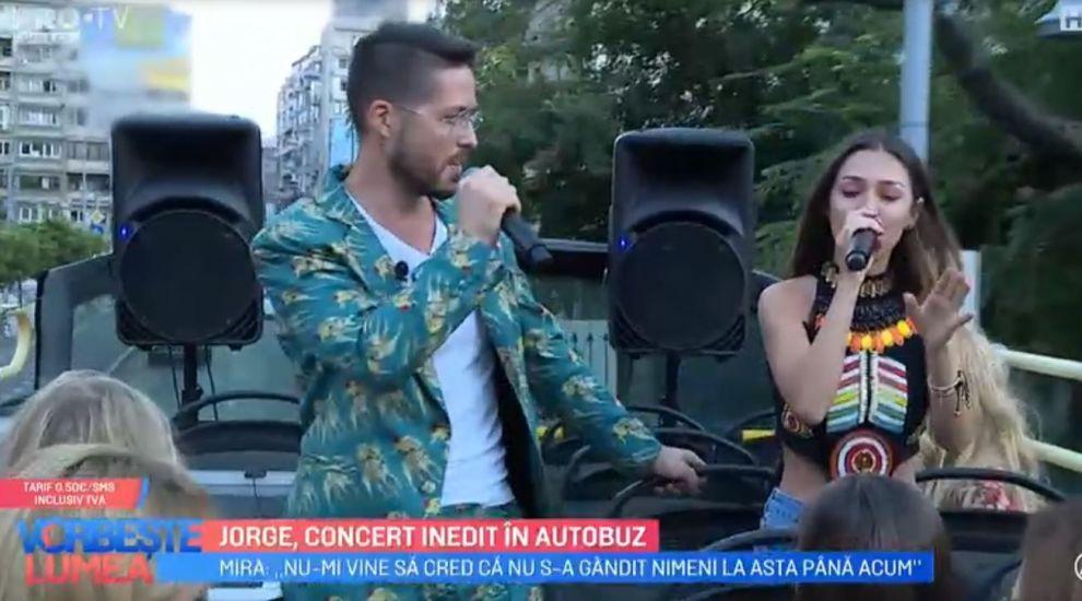VIDEO Cântărețul Jorge a ținut un concert inedit într-un autobuz prin centrul capitalei!