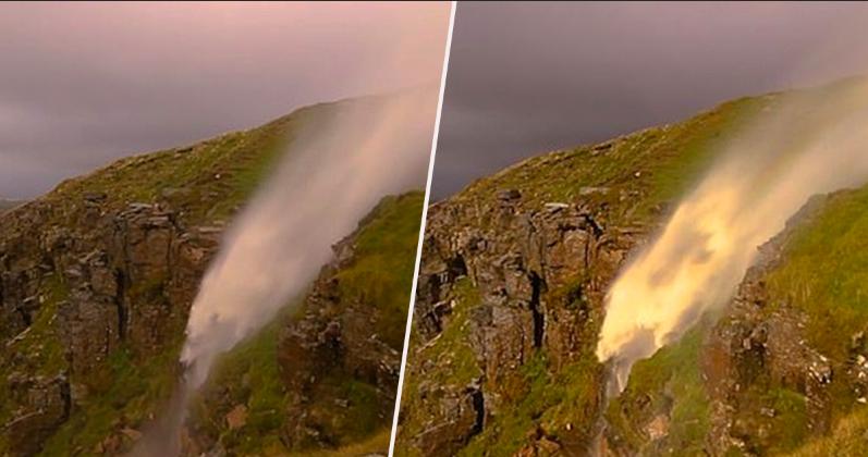 VIDEO Momentul spectaculos când apele unei cascade își inversează cursul. Care este motivul
