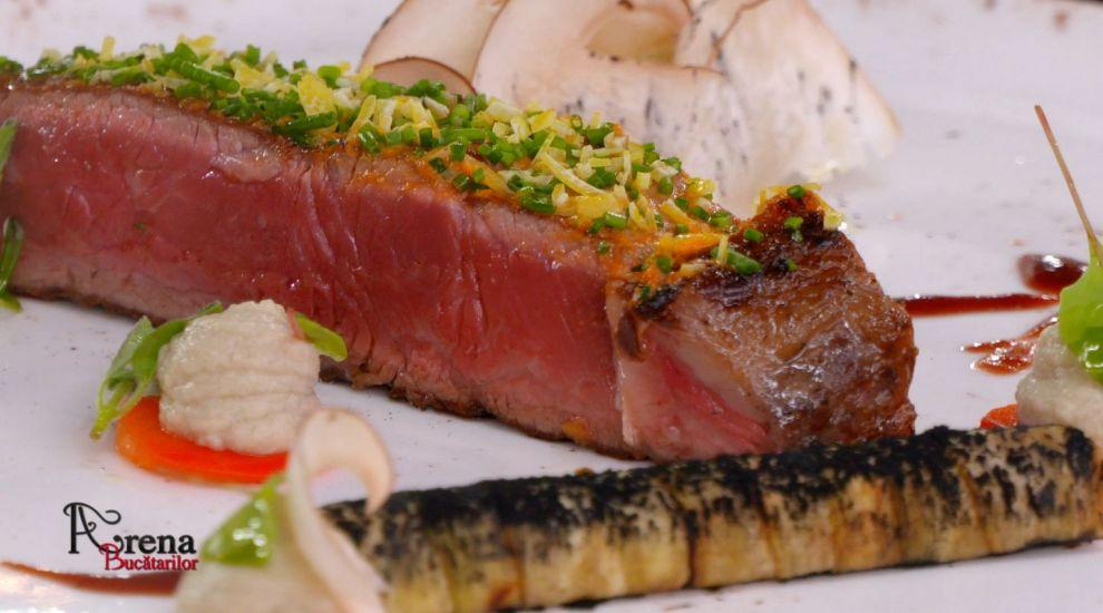 ARENA BUCĂTARILOR: Antricot de vită la grătar cu piure de hribi și cannelloni de vânătă