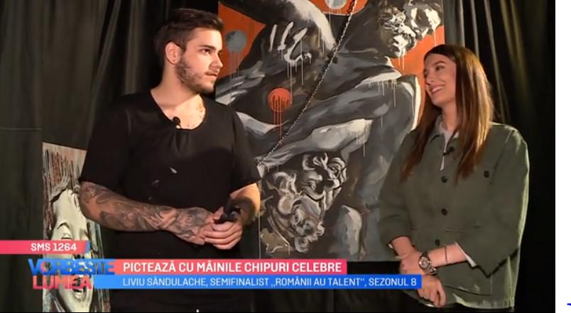 VIDEO Liviu Sandulache, semifinalistul de la Românii au Talent, pictează cu mâinile chipuri celebre