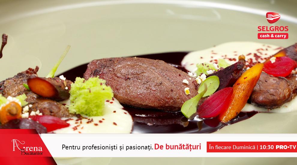 ARENA BUCĂTARILOR: Porumbel sous-vide cu cartofi mousseline și sos de vin roșu cu vișine