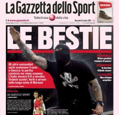 """Serbia, exclusa din Europa? Italienii: """"BESTIILE! Un imbecil mascat a facut de rusine fotbalul!"""""""