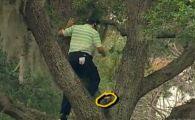 Faza NEBUNA la un turneu de golf: S-a urcat in pom pentru a trimite o lovitura imposibila! VIDEO