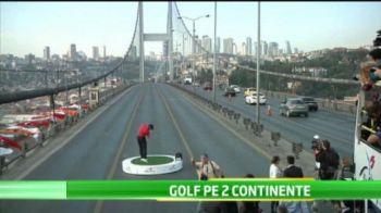 VIDEO Un nou RECORD stabilit de Tiger Woods: primul sportiv care joaca in acelasi timp pe doua continente! Aparitie spectaculoasa!