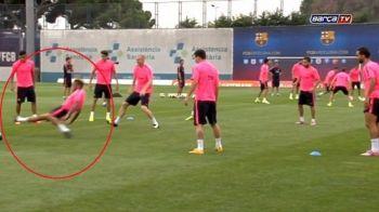 Intrare CRIMINALA a lui Dani Alves la antrenamentul Barcelonei! Vezi cine a fost victima brazilianului - VIDEO