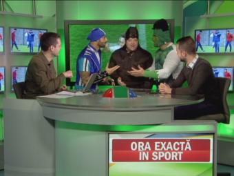 VIDEO: Au intrat  mascatii  in platoul Sport.ro :) Sportacus Kirita, stelistul Duban si morosanul Hulk au inceput deja derby-ul!