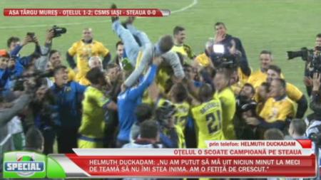 IMAGINI DE SENZATIE  TITLUL 26 !!! Gigi Becali i-a stropit pe jucatori cu sampanie si a fost luat pe sus! SUPER VIDEO
