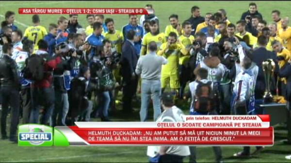 """IMAGINI DE SENZATIE """"TITLUL 26""""!!! Gigi Becali i-a stropit pe jucatori cu sampanie si a fost luat pe sus! SUPER VIDEO"""