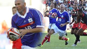 Zidane, magician si la rugby! Generatia '98 a Frantei a facut show intr-un meci demonstrativ jumatate fotbal, jumatate rugby VIDEO