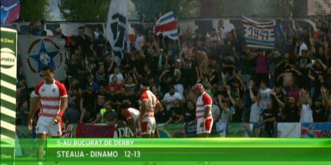 Ultrasii stelisti au abandonat echipa lui Radoi, dar fac spectacol la rugby! Superatmosfera la derby-ul cu Dinamo, incheiat cu victoria alb-rosiilor