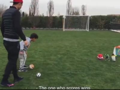 """Cine da gol castiga!"" Ronaldo a avut derby cu fiul sau, totul s-a incheiat cu un 'Siiii' razboinic :) Cine a castigat VIDEO"