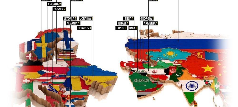 Harta luptatorilor din UFC care provin din Estul Europei, Balcani si Orientul apropiat. Romania, a doua tara ca marime fara reprezentant! FOTO