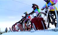 Ce nebunie! Prima intrecere de ciclism pe zapada din Romania s-a tinut la Paltinis! VIDEO