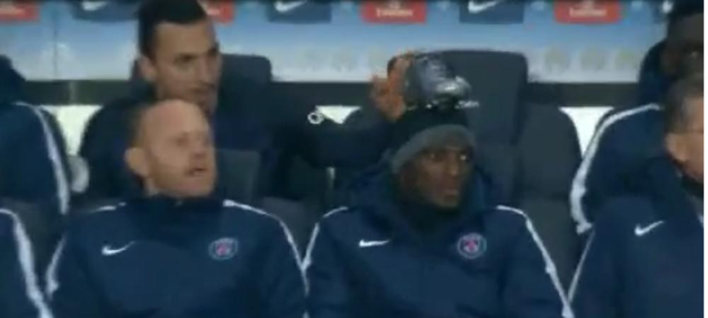 Ce face Zlatan cand se plictiseste pe banca. Moment genial la ultimul meci al lui PSG. Farsa facuta unui coleg. VIDEO
