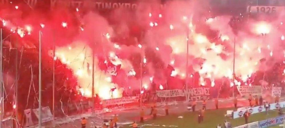Asa arata stadionul cand era LINISTE! Imagini SOCANTE la PAOK - Olympiacos, meci oprit de o BATAIE generala intre fani si politie