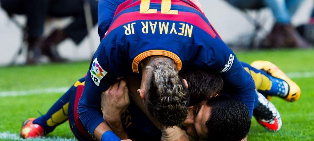 """""""Prima suta e mai grea"""" :) Tripleta de aur a Barcelonei scrie istorie. Messi, Suarez si Neymar au ajuns la 100 de goluri impreuna"""