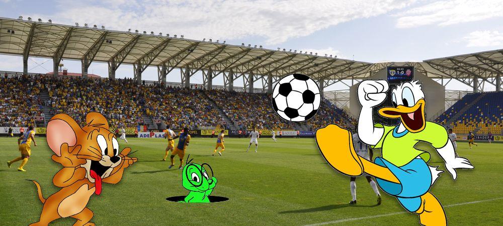 Petrolul Fotbal Comic Club :) Donald se joaca cu stadionul, Jerry e chemat sa salveze echipa, gazonul e mancat de viermi, echipa e mancata de rezultatele dezastruoase
