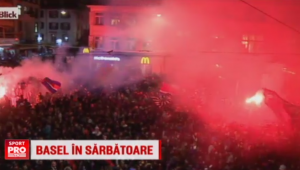 VIDEO | Basel e in sarbatoare cu doua saptamani inaintea finalei Europa League, pe care o va gazdui. FC Basel a luat al saptelea titlu consecutiv, fanii au celebrat pe strazi