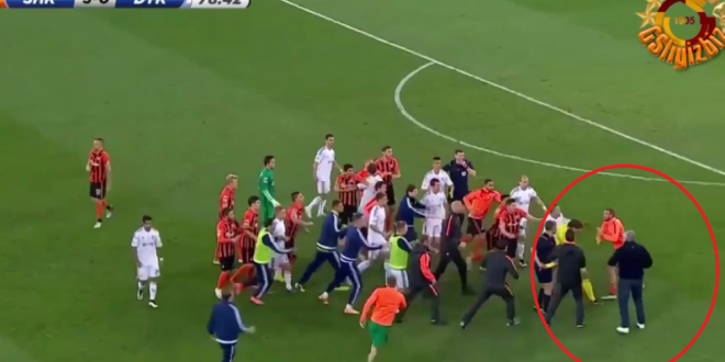 Bataie ca in filme la Sahtior cu Dinamo Kiev. Mircea Lucescu a intrat pe teren, s-au schimbat pumni si picioare! VIDEO